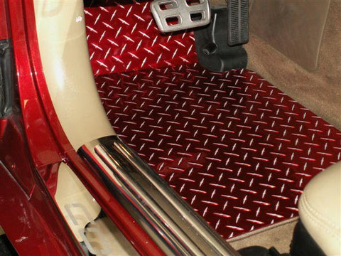 1999-2004 C5/Z06 Corvette - Red Diamond Plate Aluminum Floor Mats 2Pc | CHOOSE YEAR