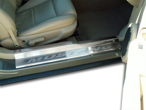 2005-2009 Mustang V6 & GT - Door Sills Brushed 4pc ETCHED MUSTANG