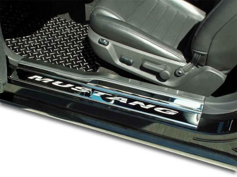 2005-2009 Mustang V6 & GT - Door Sills Polished w/ Brushed Stainless Tops 4Pc ETCHED MUSTANG American Car Craft