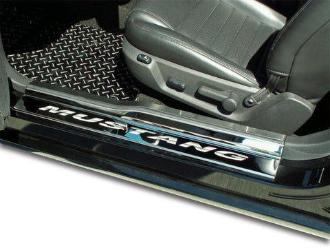 2005-2009 Mustang V6 & GT - Door Sills Polished w/ Brushed Stainless Tops 4Pc ETCHED MUSTANG