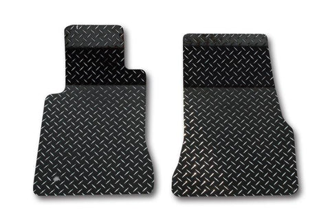 2005-2009 Mustang V6 & GT - Floor Mats Diamond Plate Powder Coated 2Pc