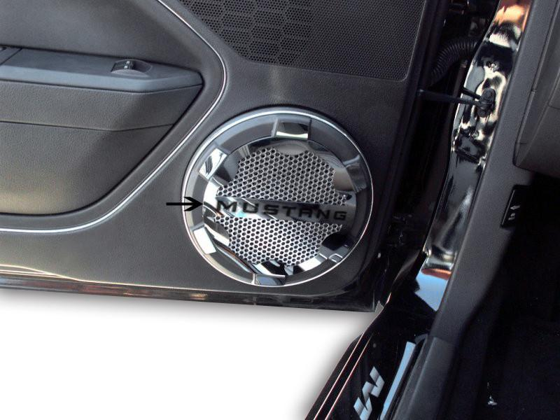2005-2009 Mustang V6 & GT - Speaker Grille Kit Polished Mustang Style American Car Craft
