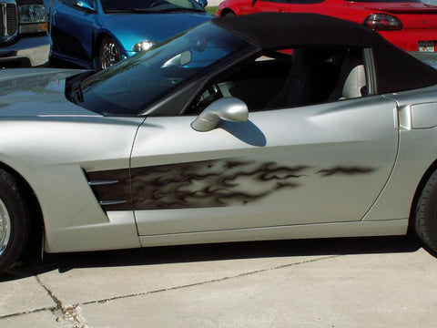 2005-2013 C6 Corvette- Side Graphic Black Flame Sport Fade