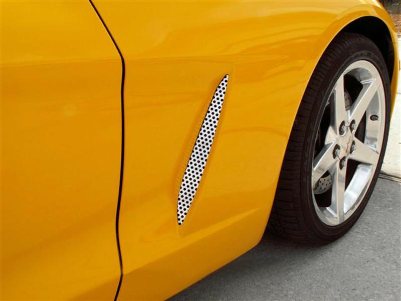 2005-2013 C6 Corvette - Side Vent Grilles Perforated 2Pc American Car Craft