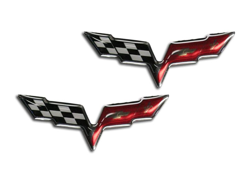 "2005-2013 Corvette C6 - Crossed Flag 2 3/8"" Raised Emblem Decals 2Pc American Car Craft"