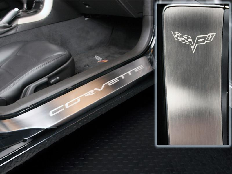 2005-2013 Corvette C6 - Full Length Outer Doorsills Laser Etched 2Pc American Car Craft