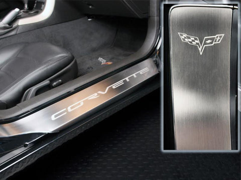 2005-2013 C6 -'Corvette' Laser Etched Full Length Outer Doorsills 2Pc | Stainless Steel, Choose Finish