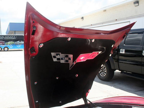 2005-2013 Corvette C6 | Hood Panel Badge Crossed Flags for factory hood pad American Car Craft