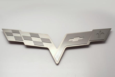 2005-2013 Corvette C6 - Hood Badge C6 Crossed Flags for Factory Hood Pad | Stainless Steel