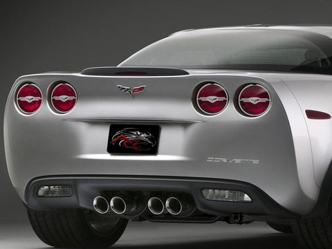 2005-2013 Corvette C6/Z06/GS/ZR1 Polished Executive Style Taillight Trim Rings 4Pc American Car Craft