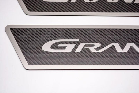 "2005-2013 Corvette Grand Sport Carbon Fiber Outer Door Sills Polished Inlay With ""Grand Sport"" Lettering American Car Craft"