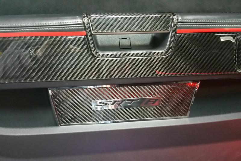 "2008-2014 Challenger - 2pc Carbon Fiber Door Badge Plate with ""SRT8"" in Polished Stainless Steel American Car Craft"