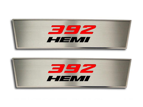 "2008-2014 Challenger Door Badge ""392 HEMI"" with FREE Custom Valve Stem Caps American Car Craft"