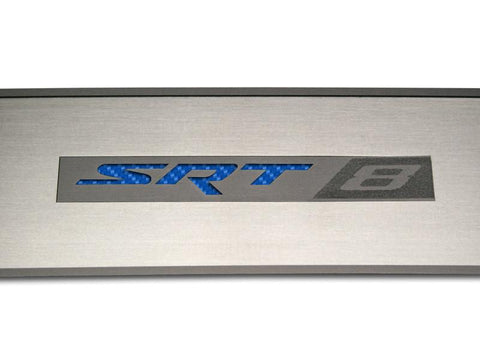 "2008-2014 Challenger - Door Badge Plate Brushed ""SRT8"" with Custom Color Faux Carbon Fiber inlay American Car Craft"