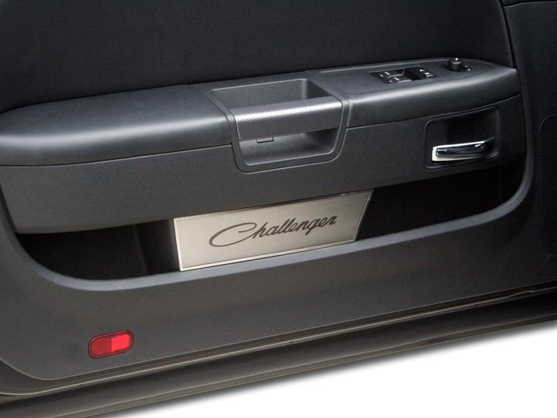 "2008-2014 Challenger Door Badge Plate Brushed with Laser Etched ""CHALLENGER"" Classic Script 2Pc American Car Craft"