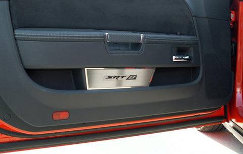 "2008-2014 Challenger - Door Badge Plate Brushed with ""SRT8"" Lettering 2Pc American Car Craft"