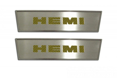 "2008-2014 Challenger Door Badge Plate Brushed/Carbon Fiber ""HEMI"" 2Pc American Car Craft"