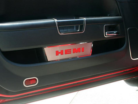 "2008-2014 Challenger Door Badge Plate Brushed/Carbon Fiber ""HEMI"" 2Pc"