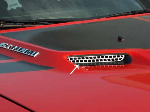 2008-2014 Dodge Challenger Hood Scoop Grille Overlay Polished 2Pc American Car Craft