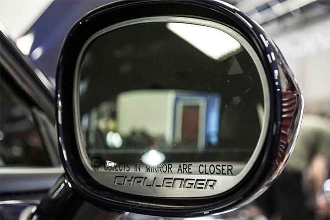 "2008-2014 Dodge Challenger - Side Mirror Trim ""Challenger"" Style 2pc Brushed American Car Craft"