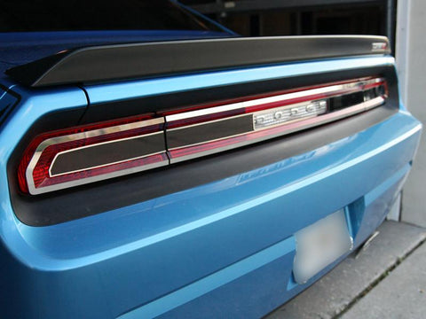 2008-2014 Dodge Challenger Tail Light Smoked Plexi Trim Plate with Polished Trim American Car Craft