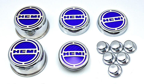 "2008-2018 5.7 Hemi V8 Engine - ""HEMI"" Fluid & Shock Tower Cap Covers 11Pc 