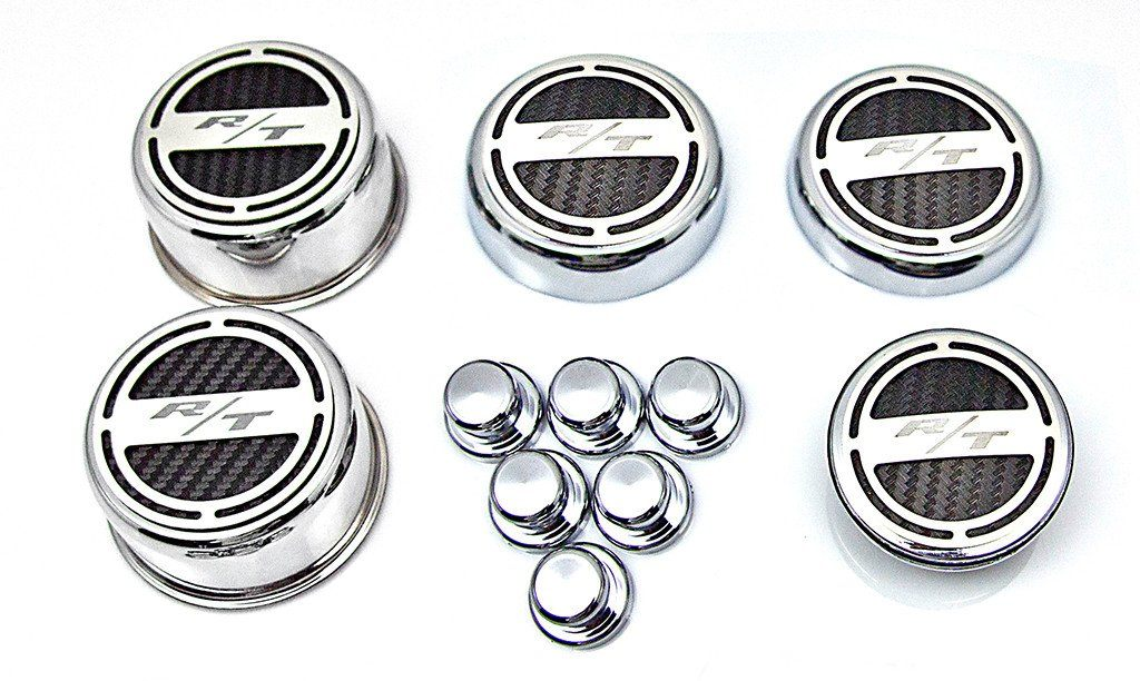 "2008-2018 5.7 Hemi V8 Engine - ""RT"" Fluid & Shock Tower Covers 11pc American Car Craft"