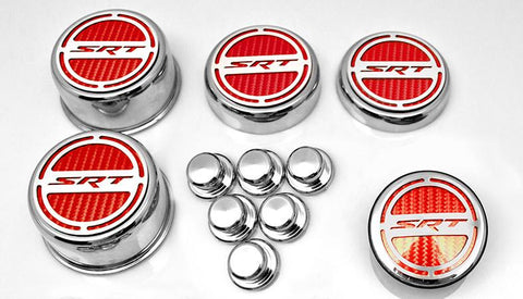 "2008-2018 5.7 Hemi V8 Engine - ""SRT"" Fluid & Shock Tower Cap Covers 11Pc 