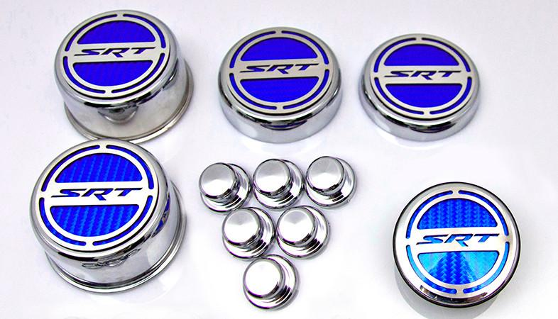"2008-2018 5.7 Hemi V8 Engine - ""SRT"" Fluid & Shock Tower Cap Covers 11pc American Car Craft"