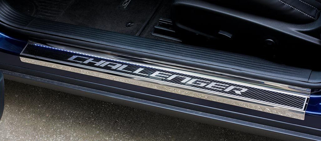 "2008-2018 Dodge Challenger - Official Carbon Fiber Door Sills with ""Challenger"" Lettering American Car Craft"