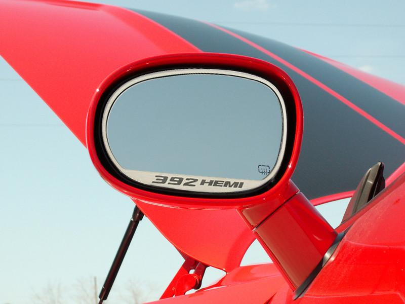"2008-2019 Dodge Challenger - Side Mirror Trim ""392 HEMI"" 2pc Brushed American Car Craft"