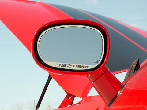 "2008-2019 Dodge Challenger - Side Mirror Trim ""392 HEMI"" 2pc Brushed"