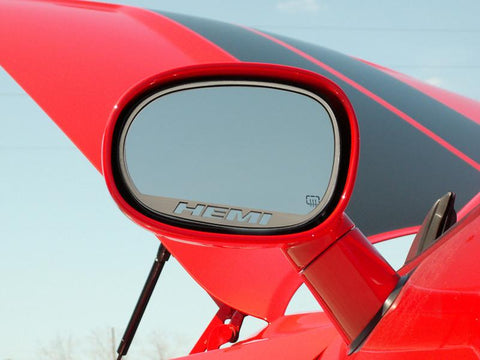 "2008-2019 Dodge Challenger - Side Mirror Trim""HEMI"" 2pc Brushed American Car Craft"