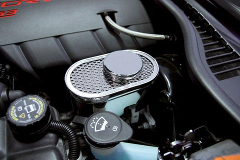 2009-2013 C6+Z06+GS Corvette - Master Cylinder Cover Perforated w/ Chrome Cap Cover American Car Craft