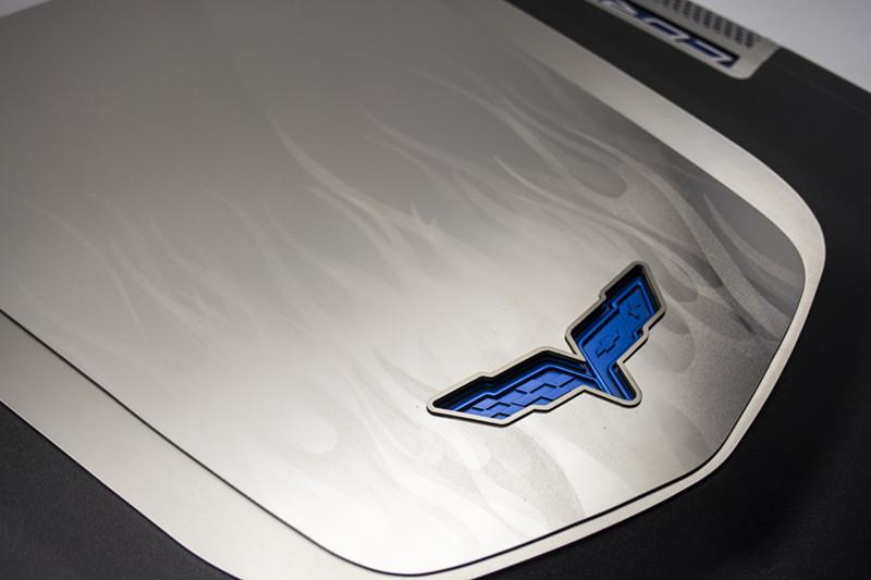 2009-2013 Corvette ZR1 Flame Etched Engine Shroud Cover 2Pc American Car Craft