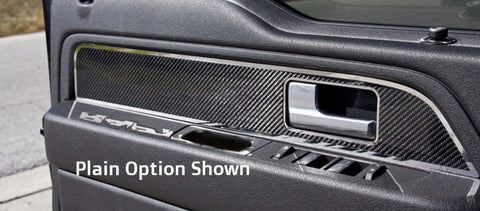 2009-2014 Ford Raptor/ F-150 - Carbon Fiber Front Door Panel Inserts w/ Polished Trim | 2pc