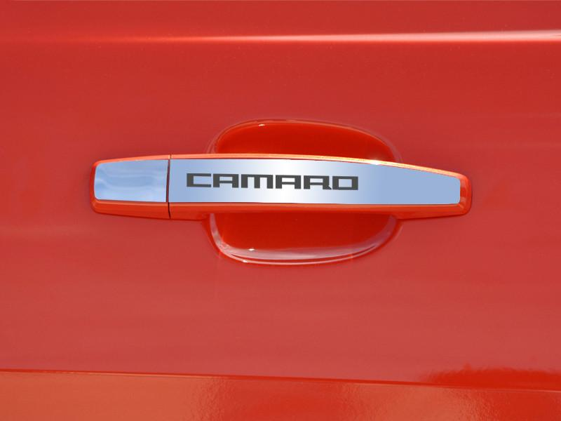 "2010-2013 Camaro - Door Handle Plate Polished Exterior ""CAMARO"" 2Pc American Car Craft"