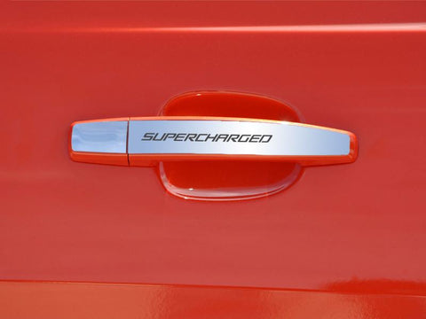 "2010-2013 Camaro - Door Handle Plate Polished Exterior ""SUPERCHARGED"" 2Pc"