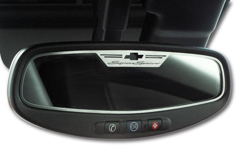 "2010-2014 Camaro - Rear View Mirror Trim ""Super Sport""  Style Brushed 