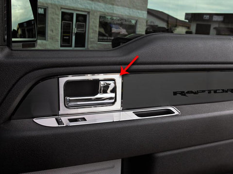 2010-2014 Ford F150/Raptor - Front Door Handle Pull Plates 2Pc | Brushed Stainless Steel