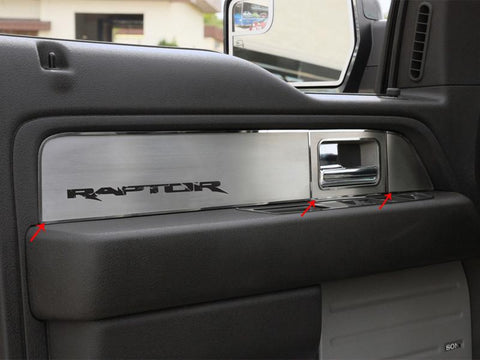 2010-2014 Ford Raptor - Door Panel Inserts for 4 Doors | 12 PC  Brushed