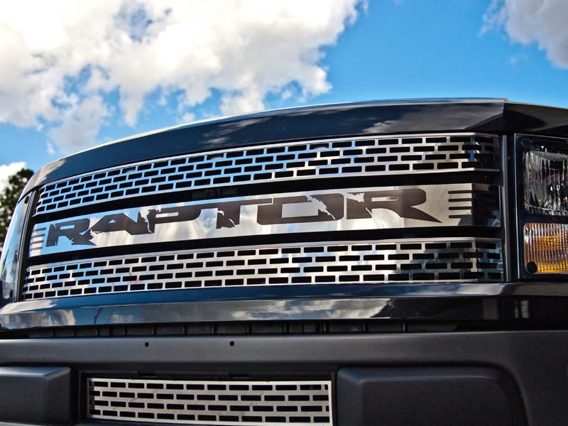 "2010-2014 Ford Raptor Front Grille Polished with Black ""RAPTOR"" Insert American Car Craft"