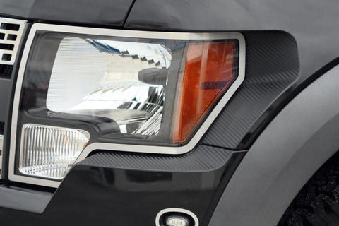 2010-2014 Ford Raptor Headlight Carbon Fiber Wrap 2Pc