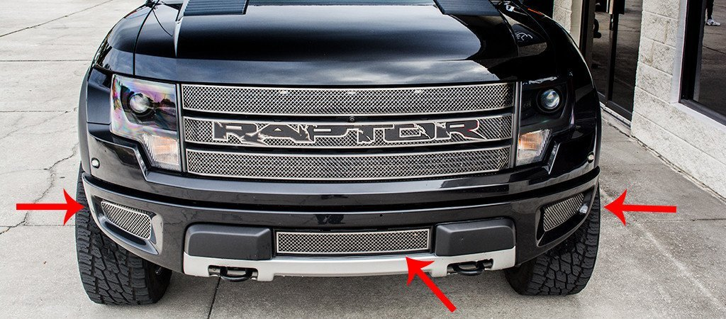 2010-2014 Ford Raptor - Laser Mesh Lower Front Grille 3Pc kit American Car Craft