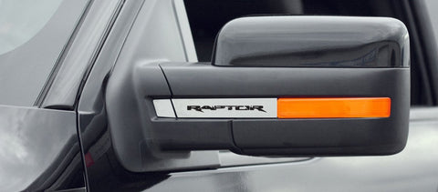 2010-2014 Ford Raptor - Mirror Emblems Side View Brushed 4Pc