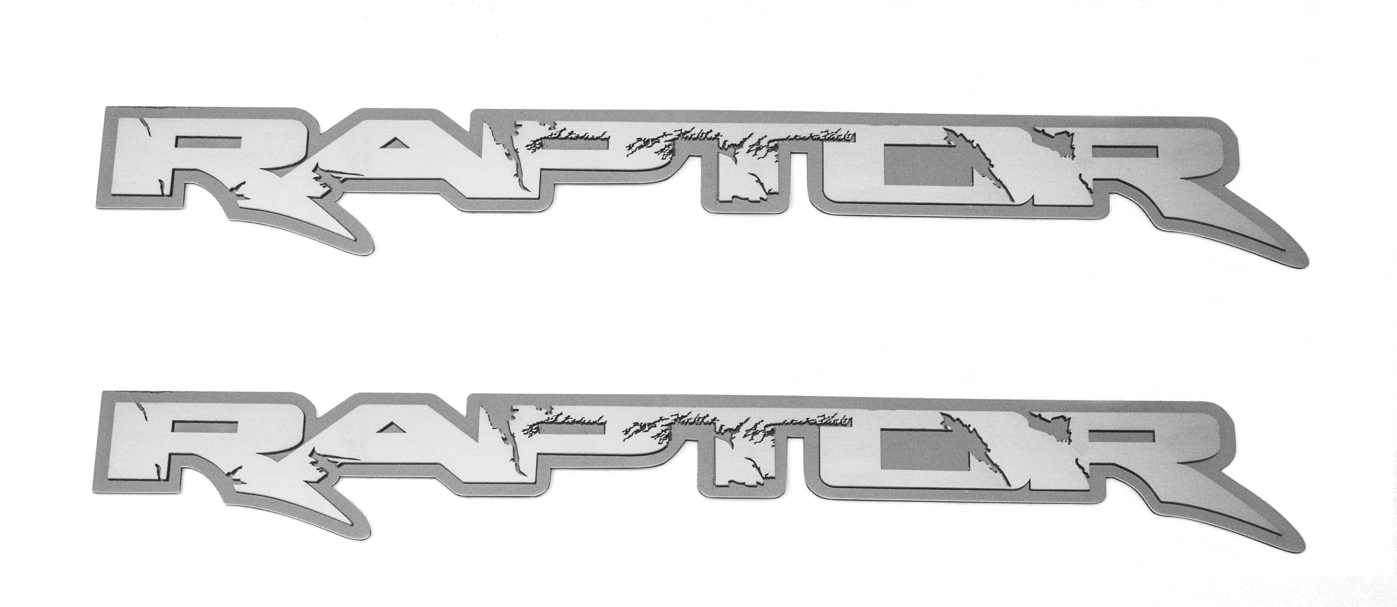 "2010-2014 Ford Raptor - RAPTOR Deluxe Emblem(s) | Stainless Steel, Choose Finish & Size American Car Craft 12"" Polished on Brushed - 2Pc"