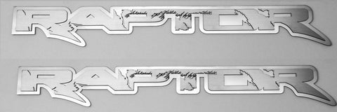 "2010-2014 Ford Raptor - RAPTOR Deluxe Emblem(s) | Stainless Steel, Choose Finish & Size American Car Craft 15"" Brushed on Polished - 1Pc"