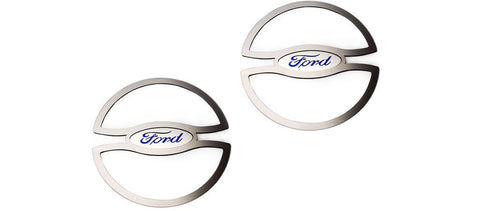 2010-2014 Ford Mustang - Blue Ford Oval Lower Speaker Trim | Brushed Stainless Steel