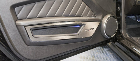 "2010-2014 Mustang V6/GT - Brushed Door Guards Polished ""5.0"" Lettering & Trim 