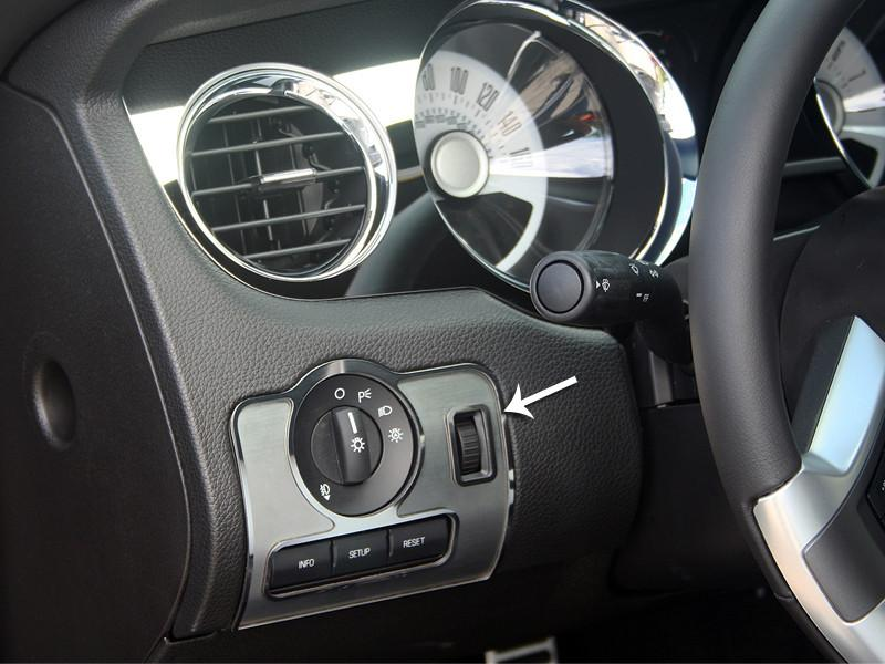 2010-2014 Mustang - Dashboard Headlight Switch Trim Plate Brushed w/Polished Ring American Car Craft
